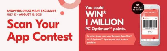 Shoppers Drug Mart Scan Your App 2021 – Win 1 Million PC Optimum Points