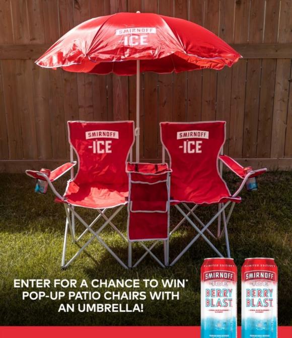 Smirnoff  – Win 1 of 10 Smirnoff Ice backyard chairs and umbrella sets