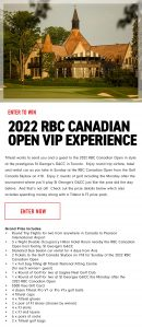 Titleist – Win a 2022 RBC Canadian Open VIP Experience prize pack valued at $8,000