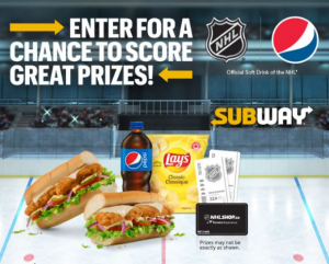Subway Pepsi NHL 2021 – Enter the PIN code from your scratch card and win at pepsiscore2win.ca